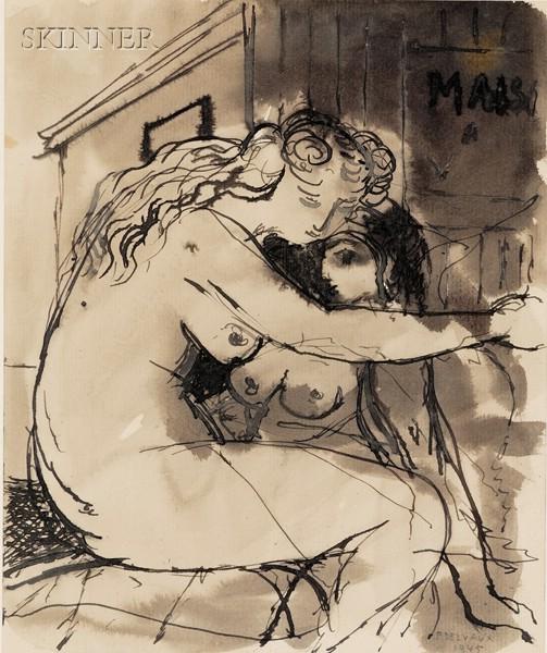 Paul Delvaux (Belgian, 1897-1994)      Portrait of Two Women Embracing