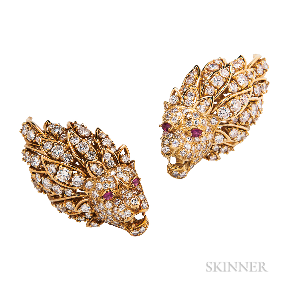 18kt Gold and Diamond Lion's Head Earclips
