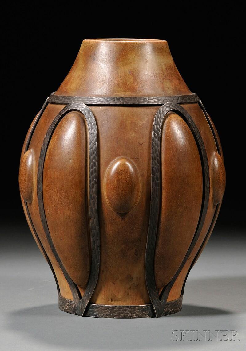 Art Deco Pottery Vase in Metal Mount