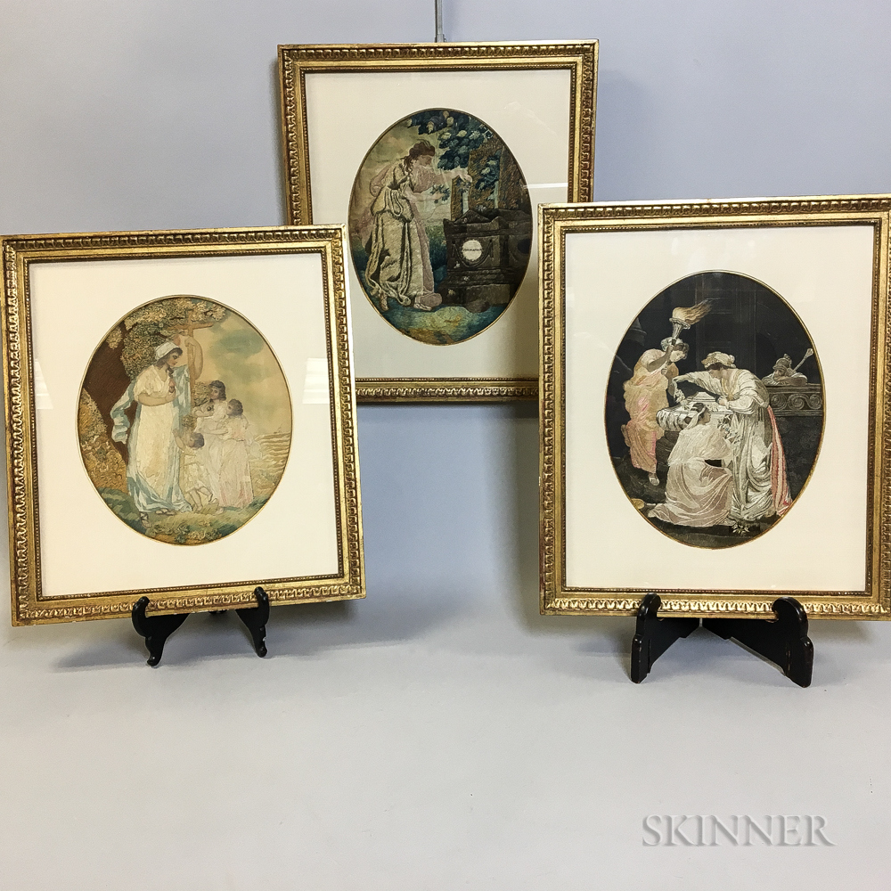Three Framed Needlework Pictures
