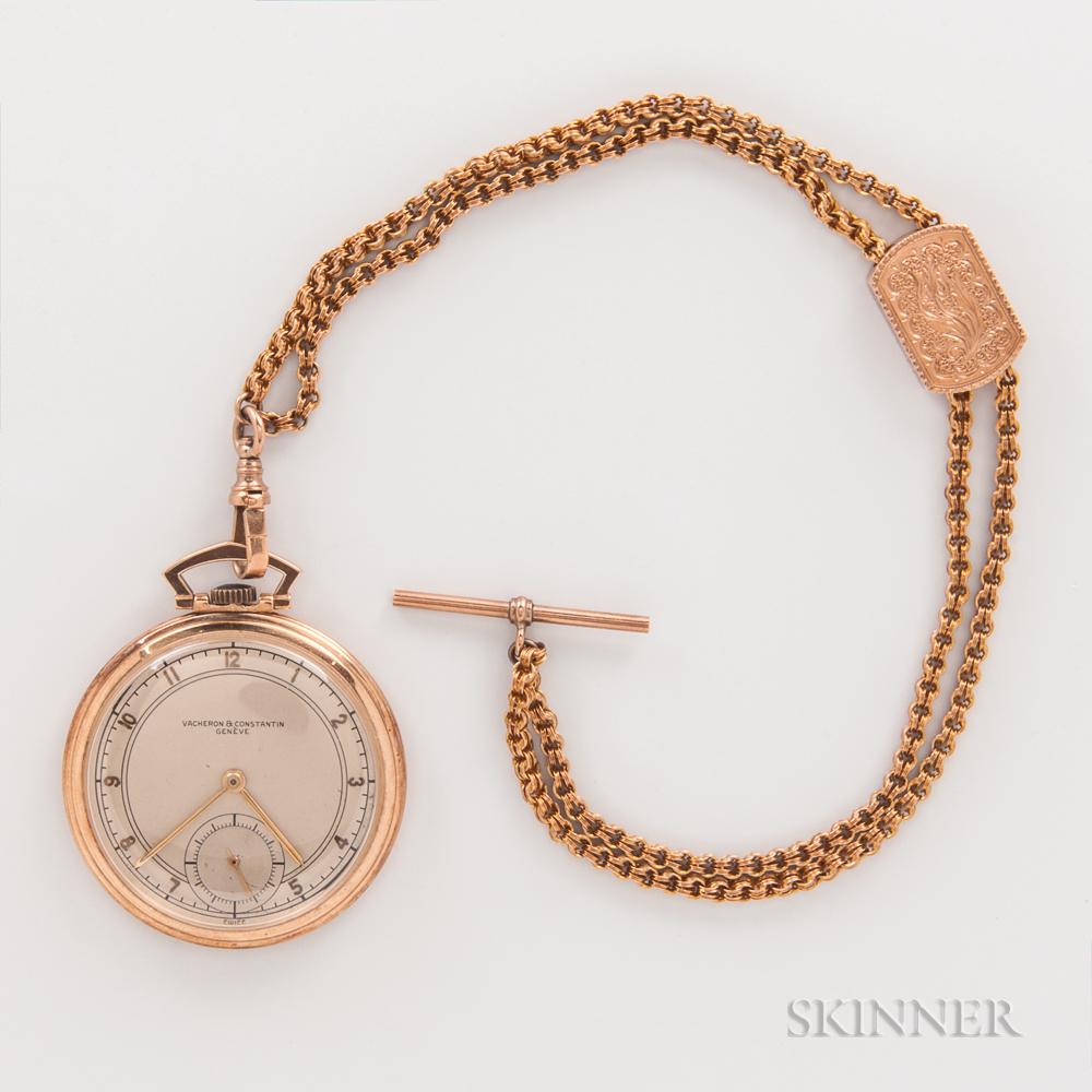 Vacheron & Constantin 14kt Gold Open-face Watch and Chain