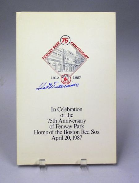 Ted Williams Autographed April 20th 1987, Fenway Park 75th Anniversary Commemorative Pamphlet.