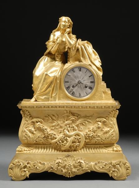 Dore Bronze Figural Mantel Clock