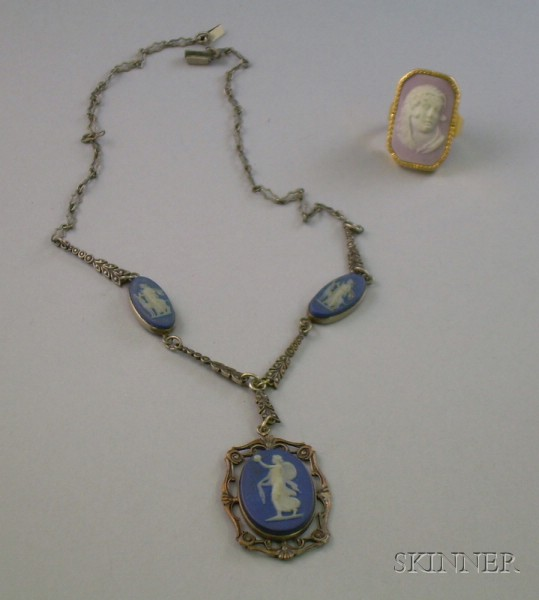 Wedgwood Dark Blue Jasperware Pendant Necklace and 14kt Gold and Wedgwood Pink Jasperware Cameo Ring.