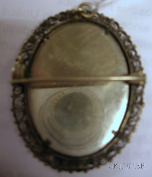 .800 Silver Framed Portrait Miniature Brooch/Pendant