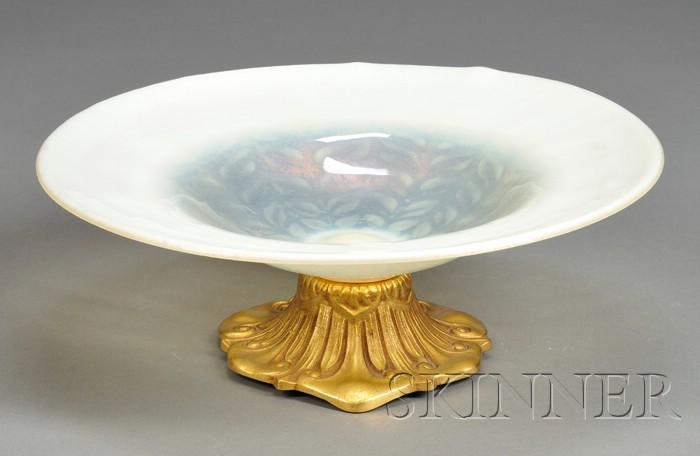 Tiffany Studios Art Glass and Metalwork Bowl