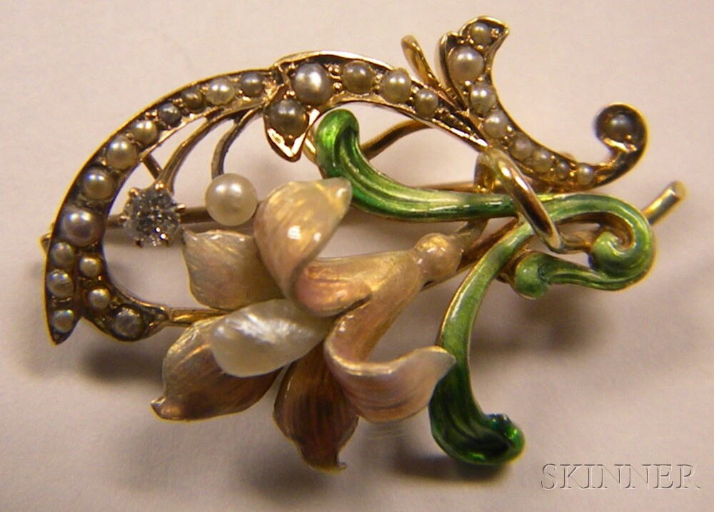 Two 14kt Gold, Iridescent Enamel, and Pearl Pendant/Brooches