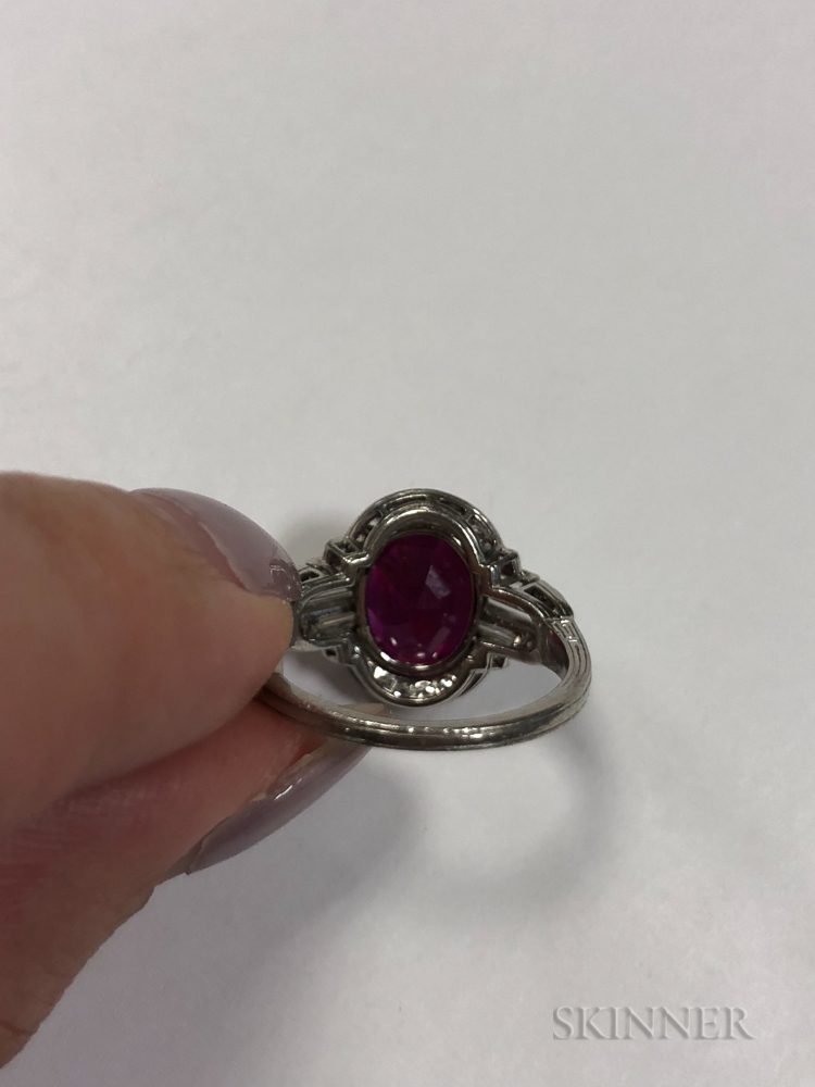 Art Deco Platinum, Ruby, and Diamond Ring