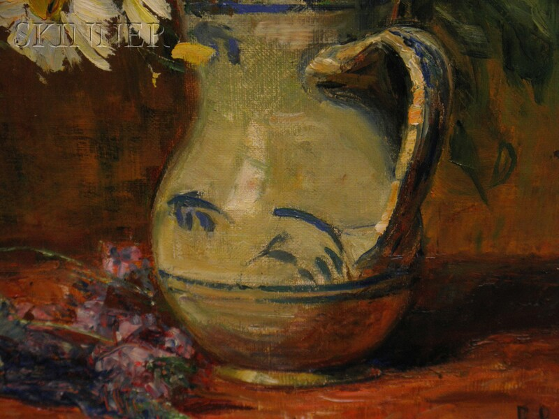 Gertrud Staats (German, 1859-1938)      Still Life of Summer Flowers in a Blue and White Pitcher
