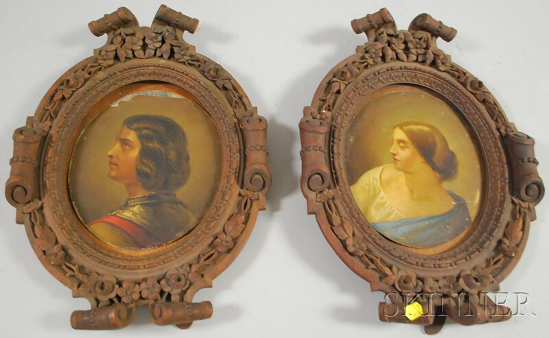 Pair of Renaissance-style Portraits in Frames