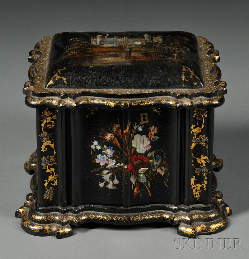 Victorian Mother-of-pearl-inlaid and Lacquered Necessaire