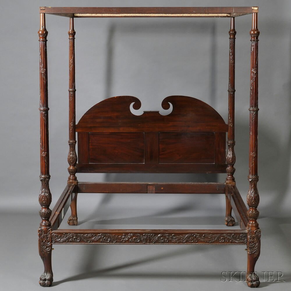 georgian style carved mahogany tester bed sale number. Black Bedroom Furniture Sets. Home Design Ideas