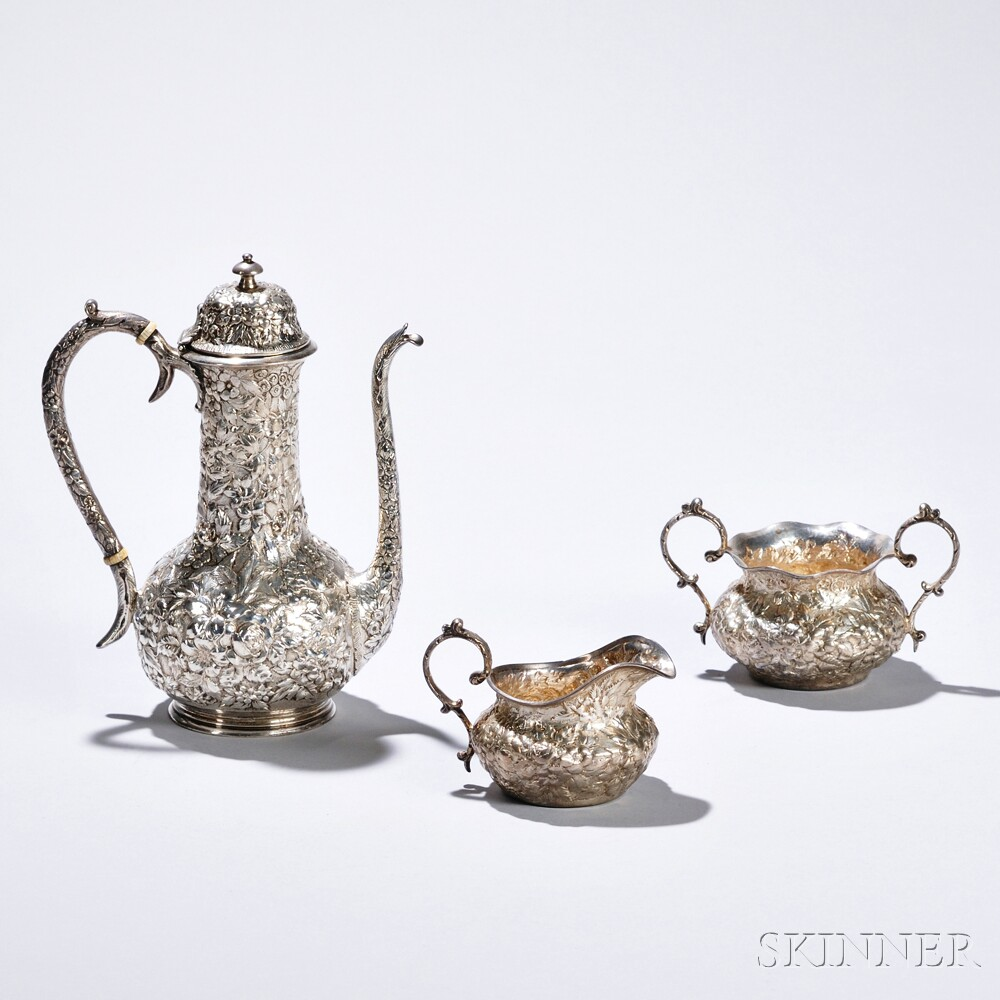 Three-piece Jacobi & Co. Sterling Silver Coffee Service