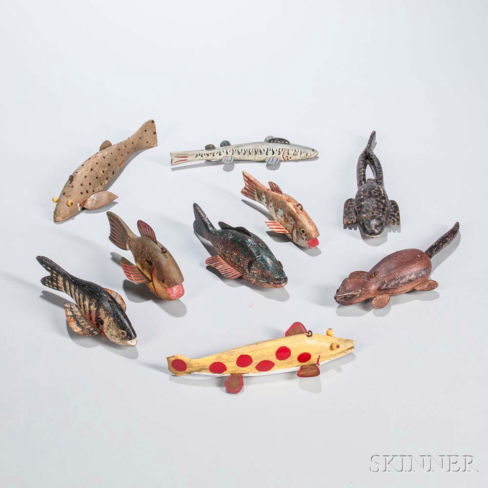 Nine Carved and Painted Fishing Decoys