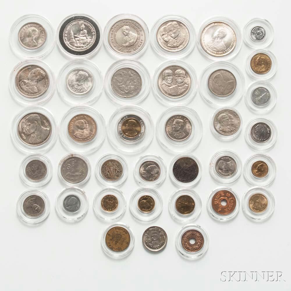 Thirty-six Modern Thai Coins.     Estimate $50-100