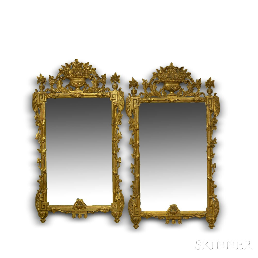 Pair of Neoclassical-style Carved and Gilt Mirrors