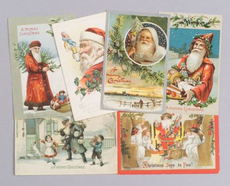 Collection of Approximately 116 Turn-of-the-Century Chromolithograph Christmas Post   Cards