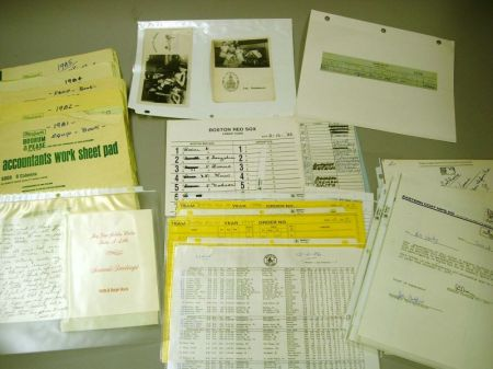 Group of Boston Red Sox Clubhouse Equipment Ledgers and Ephemera