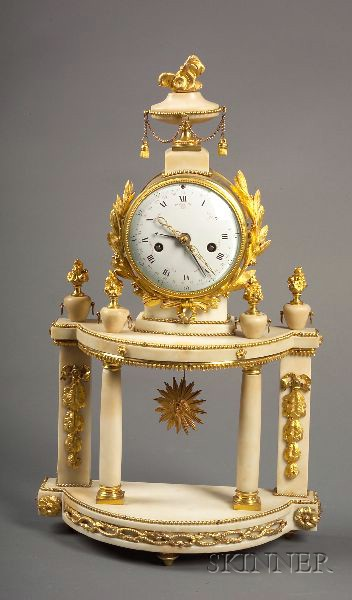 Louis XVI White Marble and Ormolu-mounted Portico Mantel Clock