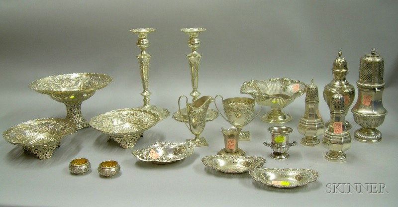 Fifteen Sterling and Four Silver Plated Table Items