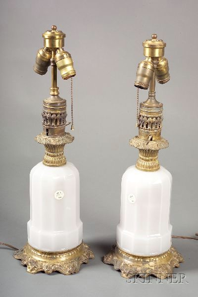 Pair of Opaline Glass Lamp Bases