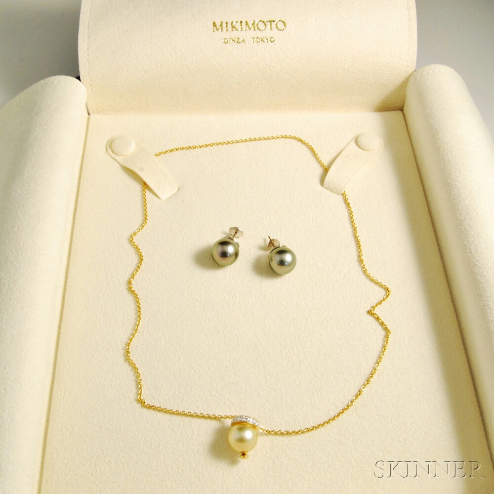 Mikimoto 18kt Gold, Diamond, and Pearl Necklace and a Pair of Tahitian Pearl   Earrings