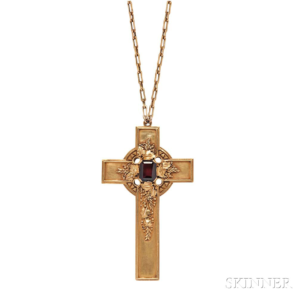 Arts and Crafts Gold and Garnet Cross, Edward Oakes