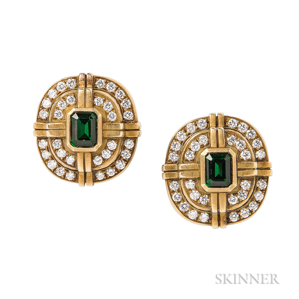 18kt Gold, Green Tourmaline, and Diamond Earclips, Kieselstein-Cord