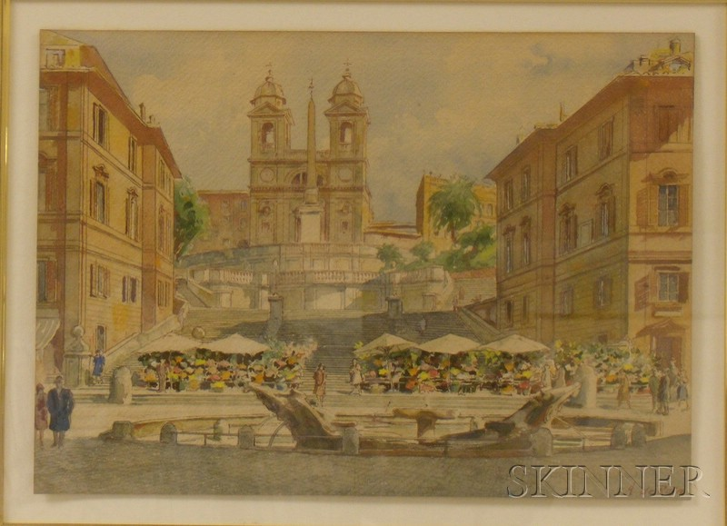 Framed 20th Century Italian School Watercolor on Paper of a Piazza