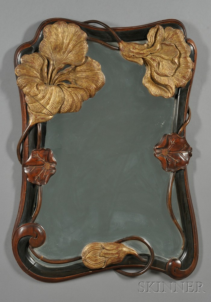 Art Nouveau-style Carved Mahogany and Parcel-gilt Mirror