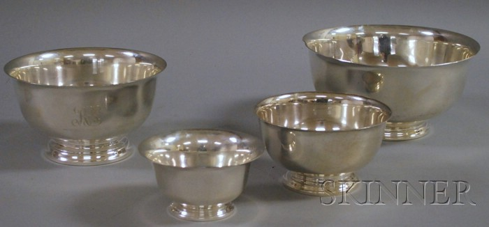 Four Sterling Revere-style Bowls