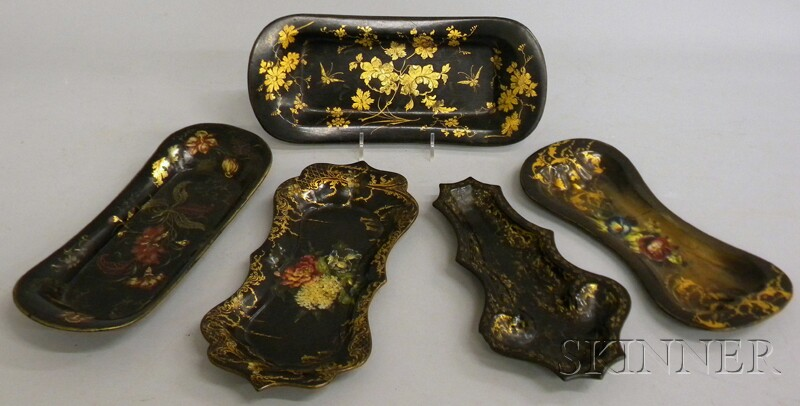 Five Small Victorian Gilt and Polychrome-decorated Black Lacquered Papier-mache   Trays
