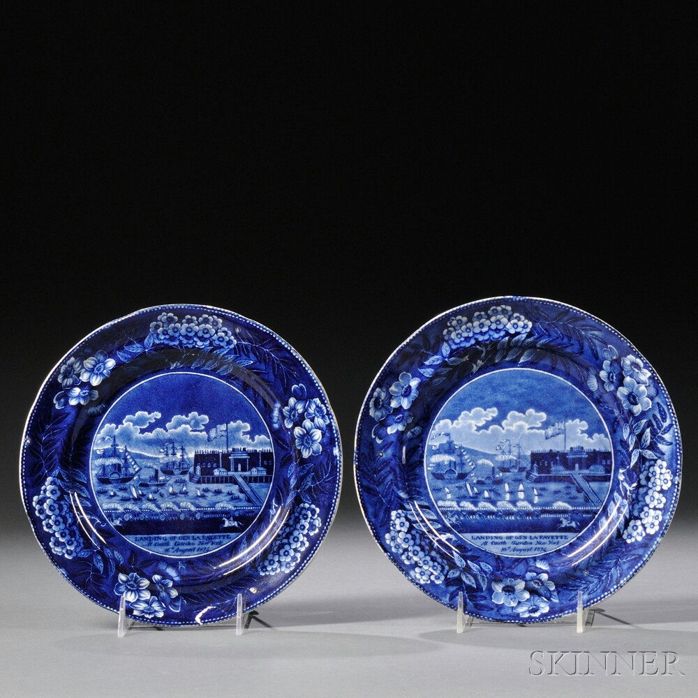 Two Historical Transfer-decorated Staffordshire Landing of LaFayette   Dinner Plates