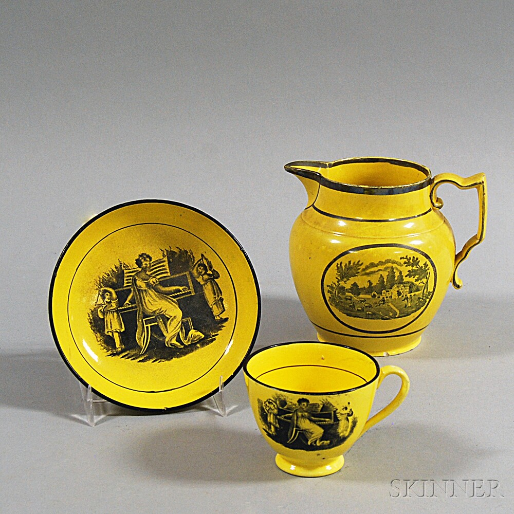 Three Transfer-decorated Canary Yellow Staffordshire Pottery Items