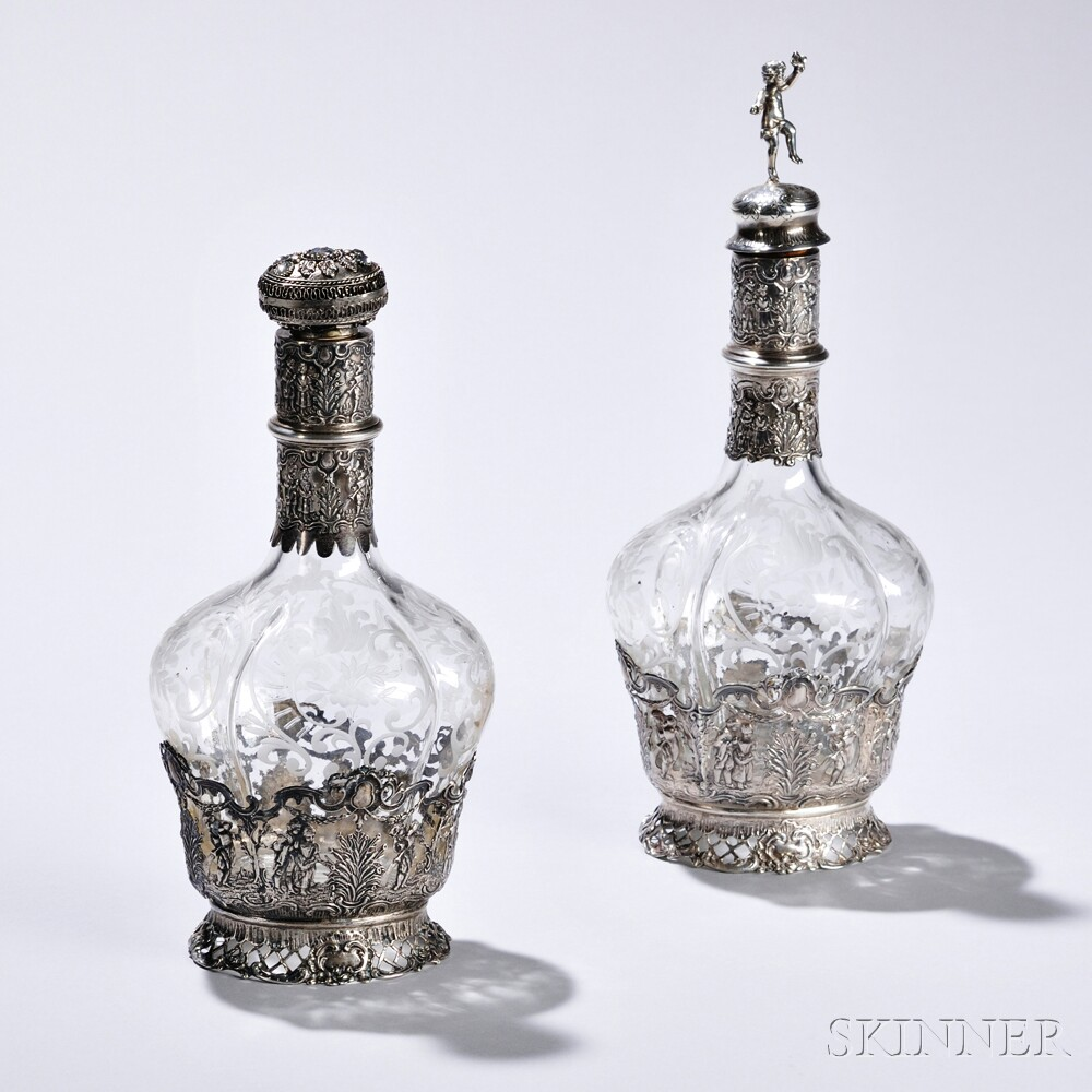 Two German Sterling Silver-mounted Glass Decanters