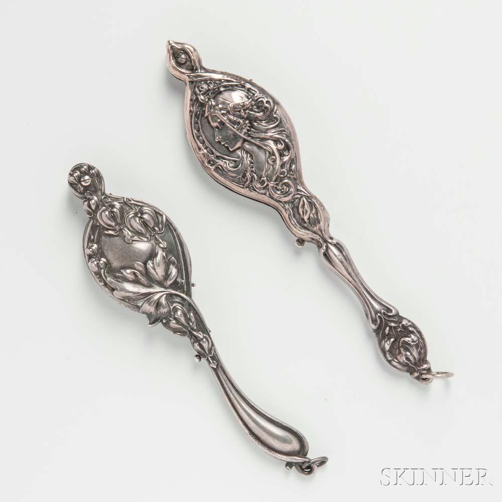 Two Art Nouveau Sterling Silver Lorgnettes