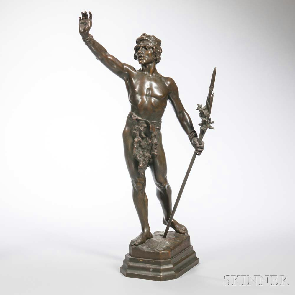 After Louis Domenech (act. France, 19th/20th Century)       Bronze Figure of a Man with a Spear