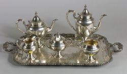 Gorham Sterling Five-piece Tea and Coffee Service with Plated Tray