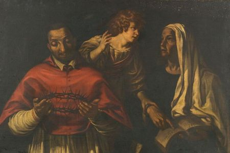 Manner of Bartolomeo Schedoni (Italian, 1578-1615)    Saint Carlo Borromeo Contemplating the Passion