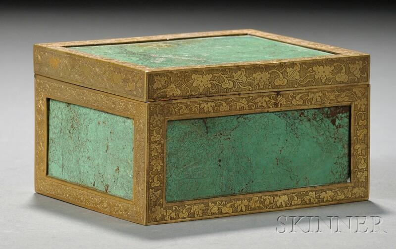 Malachite and Brass Box