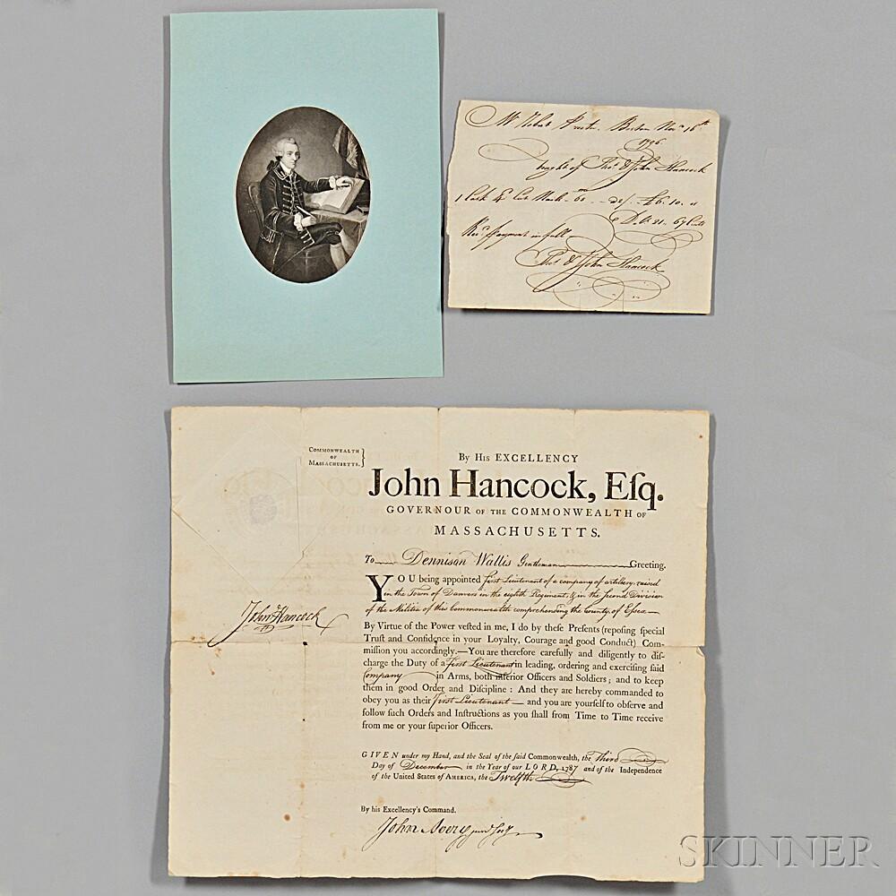 Hancock, John (1737-1793) Signed Military Commission, 3 December 1787.