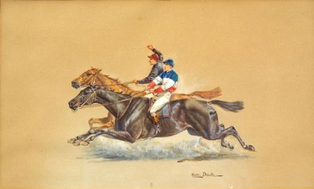 Charles (Jean Baptiste C.) Detaille (French, 19th Century)    Running Head to Head/A Horse Racing Sketch