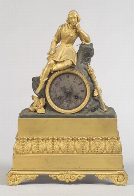 French Empire Revival Gilt and Patinated Metal Mantel Clock