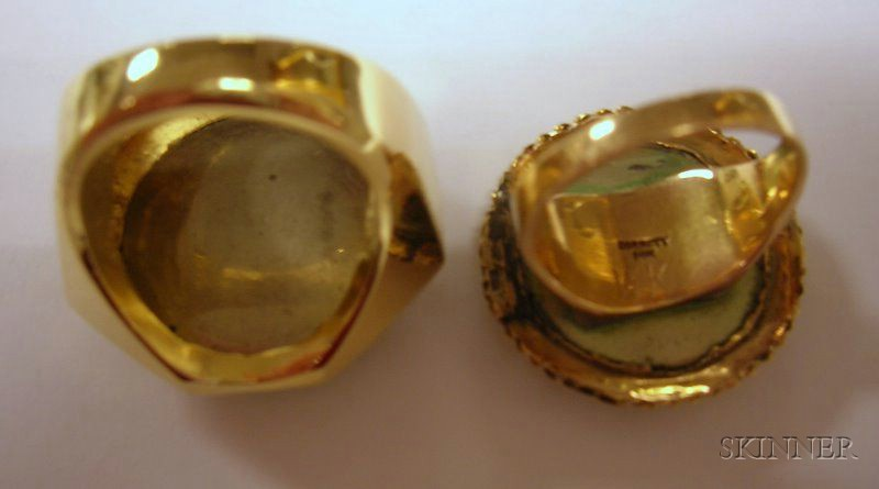 12kt Gold Micromosaic Ring and a 14kt Gold Micromosaic Ring