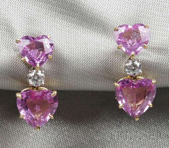 18kt Gold, Pink Sapphire, and Diamond Earpendants, Bulgari