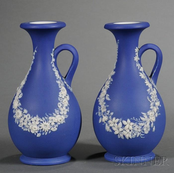 Pair of Wedgwood Dark Blue Jasper Dip Vases