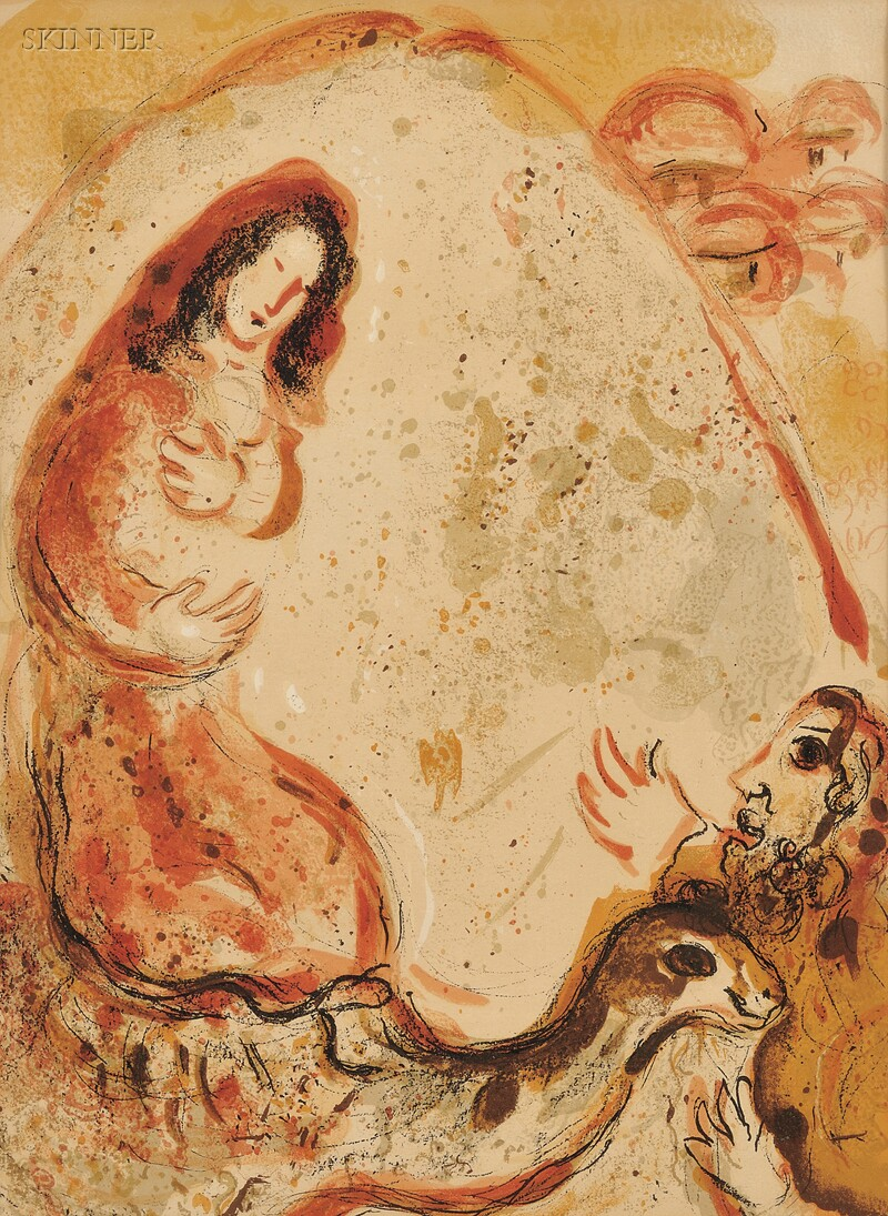 Marc Chagall (French/Russian, 1887-1985)      Two Images from the DESSINS POUR LA BIBLE