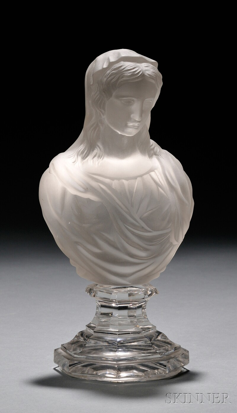 Baccarat Glass Bust of the Virgin Mary