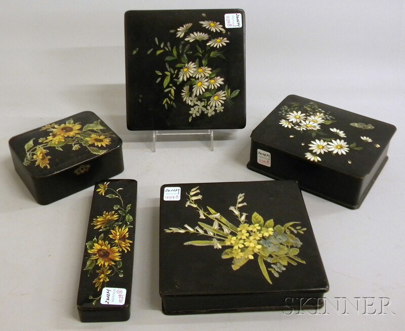 Five Late Victorian Polychrome Floral-decorated Black Lacquered Boxes.