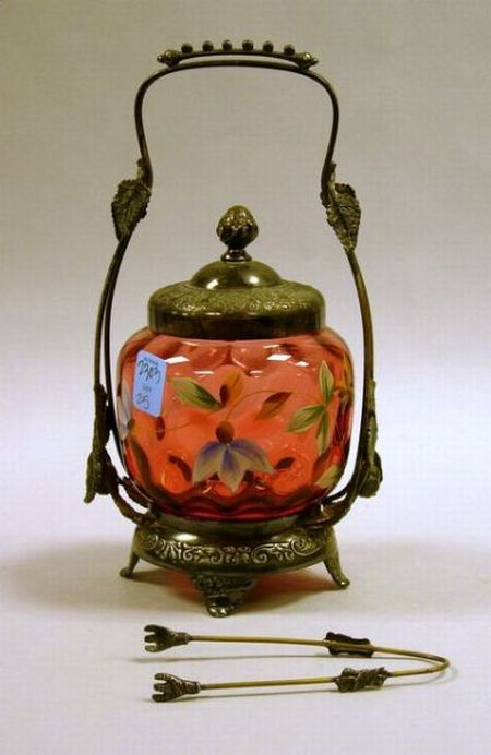 Pairpoint Silver Plate Mounted Enamel Floral Decorated Cranberry Glass Pickle Caster.